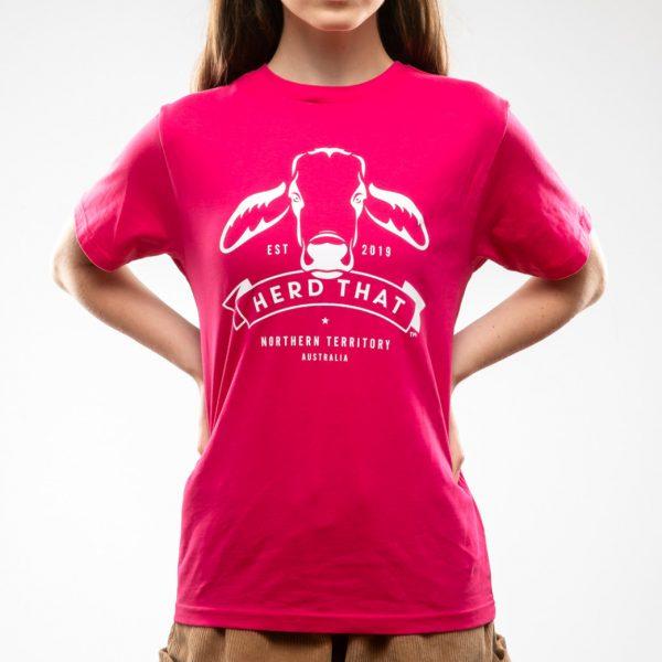 Kids Tshirt - Fushia - 1 colour logo