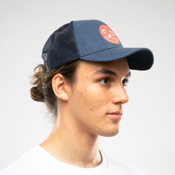 Trucker Cap - Round Logo - Denim on head